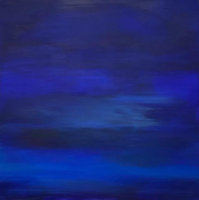 Acrylbild in verschiedenen Blautönen - Blick auf den Horizont durch den Blauschleier