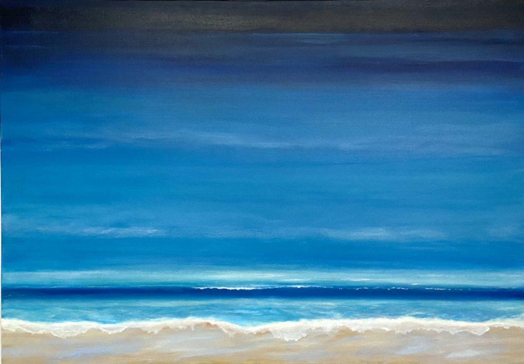 Ölbild - Licht am Horizont über dem Meer, das sanfte Wellen an den Strand schickt
