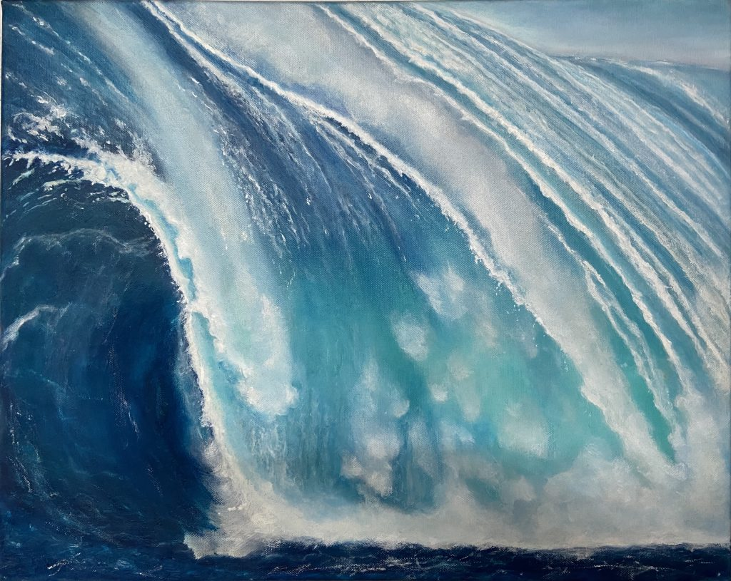 Tosende Welle Kraft des Wasser Ölbild Original